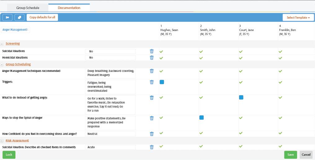 Behavioral health care planning screenshot