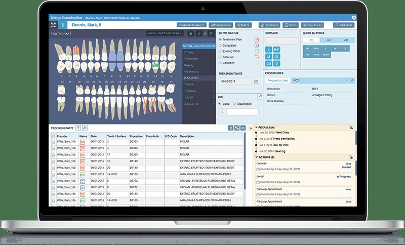 Electronic dental records screenshot