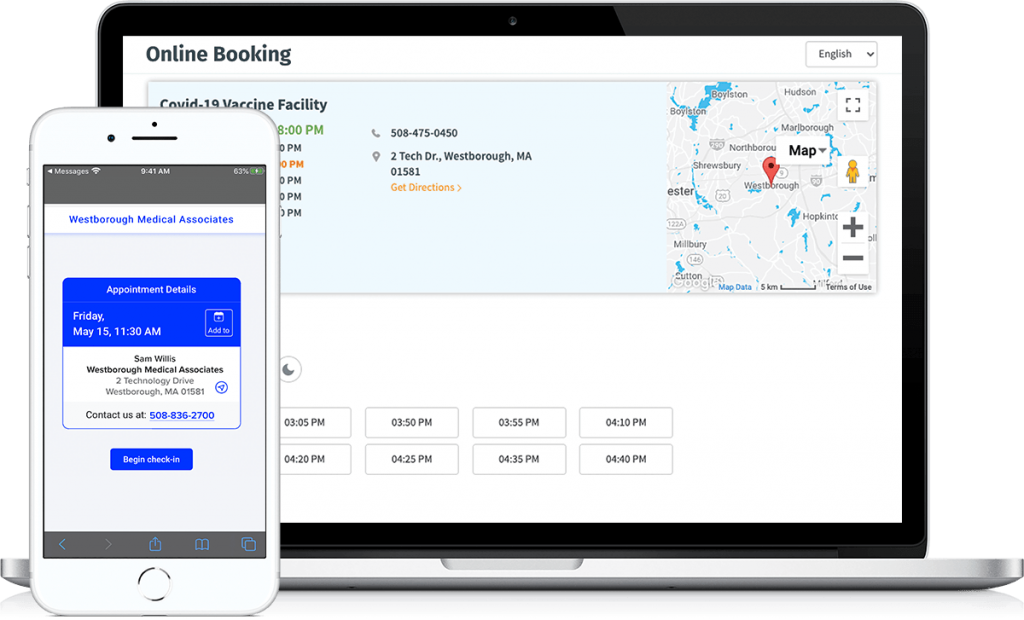 online-booking-vaccine-administration-management-system-screen-on-laptop-begin-check-in-on-mobile